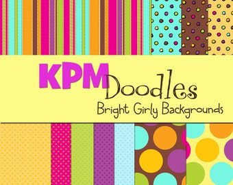 Bright Girly Dots and Stripes Digital  Paper Pack