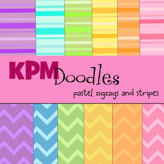 Pastel stripe and zigzags Digital  Paper Pack