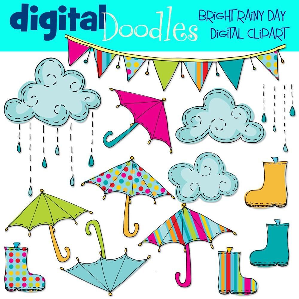 Rainy Day Clip Art: KPM Bright Rainy Day Digital Clip Art