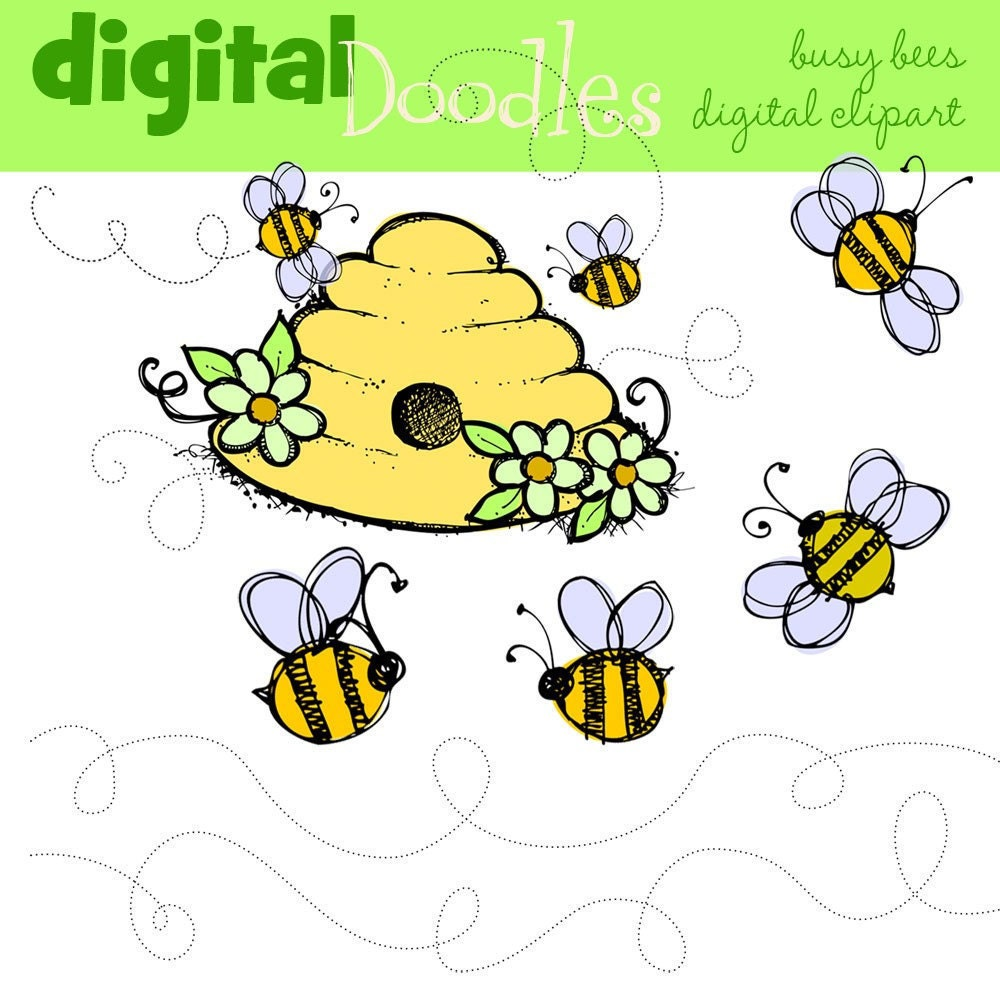 iNSTANT DOWNLOAD busy bumble bee digital clipart by kpmdoodles