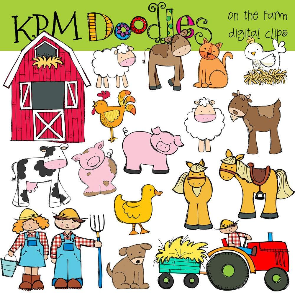 KPM On the Farm Digital Clip art COMBO by kpmdoodles on Etsy