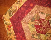 Golden Brown and Burgundy Table Topper