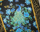 Peacock Wall Art no. 5 or Table Runner quilted Timeless Treasure Plume Fabric