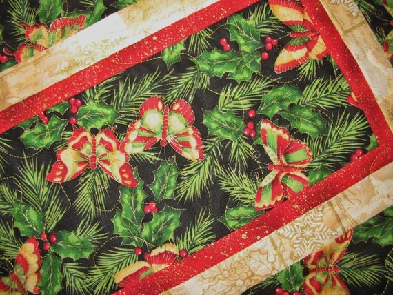 ButterfliesTable Runner Quilted for Christmas