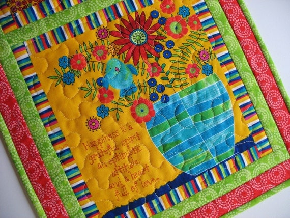 Colorful Wall Hanging or Table Runner Whimsical fabric from Timeless Treasures Wendy Bently design