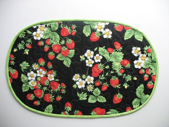 RESERVED FOR LINDA Quilted Oval Strawberry Table Topper fabric from Timeless Treasures