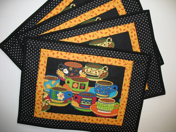 Coffee Place Mats Quilted and Reversible Set of 4 fabric from Andover
