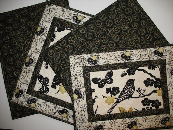 Bird Place Mats (set of 4) in Beautiful fabric from Andover and Timeless Treasures