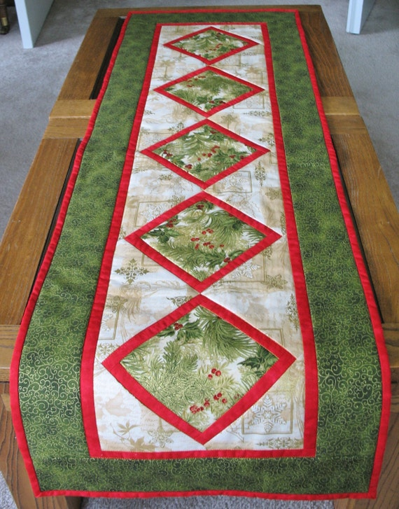 Christmas Table Runner Quilted  made from Kaufman Flourish Fabric Line