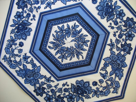 Hexagon Table Topper in Beautiful Blue Timeless Treasures Fabric