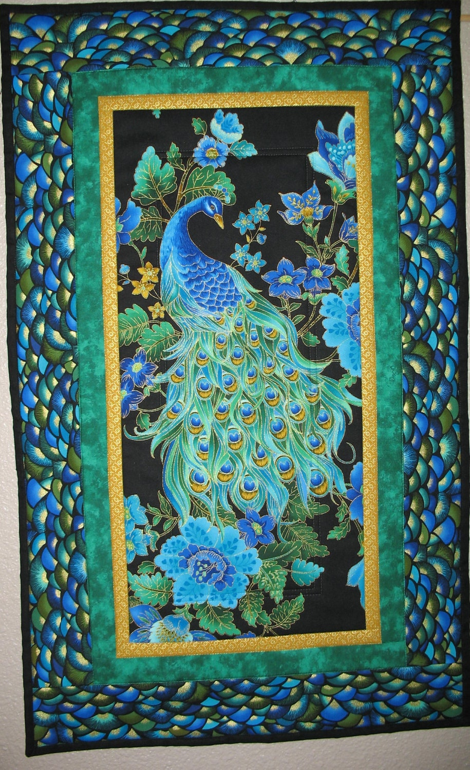 Reserved Listing For Kate Peacock Wall Art Or Table Runner