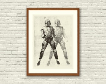 BOUNTY HUNTER - Star Wars Inspired, Boba Fett 18 x 24 Handprinted Silkscreen Art Print, Modern Poster, Boutique, Retro Home