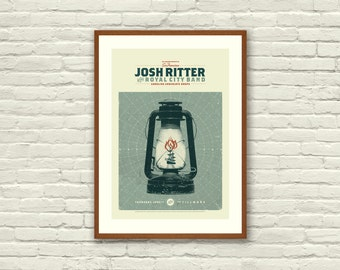 NAUTICAL Ship, Lantern - Josh Ritter 13 x 19 Art Print Concert Poster, The Fillmore, Lithograph, Hipster, Vintage Style