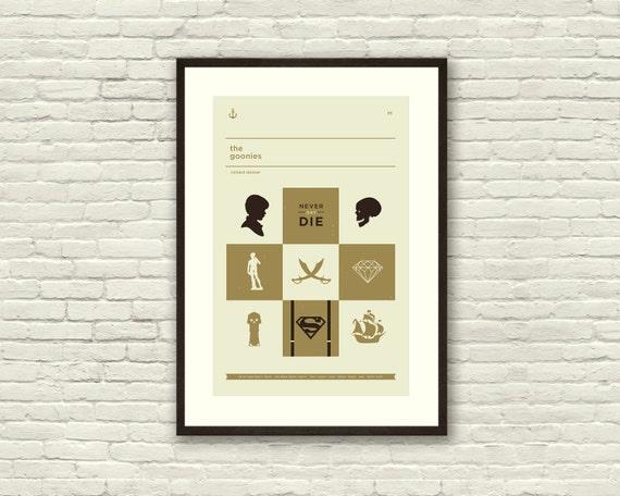 THE GOONIES Inspired Art Print Movie Poster - 12 x 18 Minimalist, Mid Century Modern, Nursery, Metallic Gold Ink