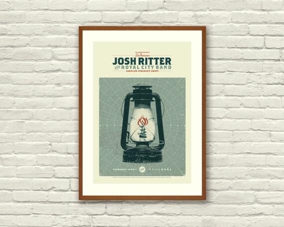 NAUTICAL Ship, Lantern - Josh Ritter 13 x 19 Art Print Concert Poster, The Fillmore, Lithograph, Hipster, Vintage Style