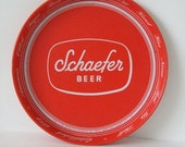 Round Retro Red And White Schaefer Serving Tray