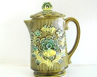 Green Japanese Floral Vintage Teapot