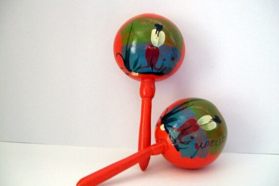 Set of Hand-Painted Mexican Orange Maracas