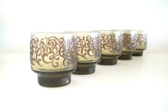 Libbey Vintage Juice Glasses -Chocolate Prada Patterned