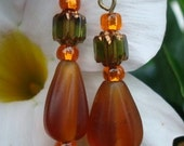 Brown Sugar Frosted Glass Earrings