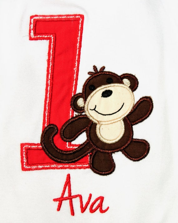 Monkey Personalized Birthday Shirt or Bodysuit