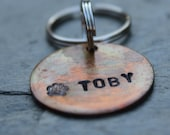 Pretty Patina Tag with Paw Stamp Personalized with your pets name and number