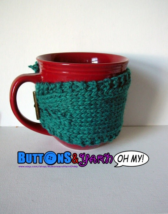 Teal Mug Cozy, Knitted Coffee Cup Cozy