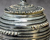 Spikes and Lines - Large Lidded Jar - Antique Green
