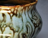 Brown and White Glaze Trailed Vase