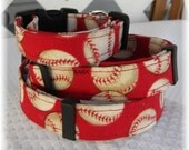 Dog Collar Take Me Out To The Ball Game Red with Baseballs Peanuts Cracker Jack Home Run Adjustable Collars D Ring  Choose Size Pets Pet