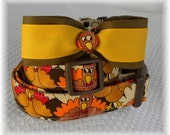 Dog Collar Crazy Turkey Fun Thanksgiving Fall Bow Wow Fun Colors Adjustable Dog Collar w Ribbon BOW TIE and D Ring.Fun Choose Size