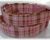 Dog Collar His and Hers Collection Classic Plaid Pink Brown White Adjustable Dog Collar D Ring Handmade Choose Size Accessories Pet Pets