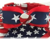 Dog Collar Patriotic USA Flag Red White Blue Stars Ribbon Star Bow Tie Navy white Stars  Adjustable DogS Collars D Ring Choose Size Pets Pet