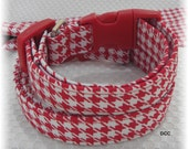 READY to SHIP Dog Collar Houndstooth Red White  Classic Adjustable Dogs Collars D Ring Choose Accessories Pet Plaid Size Jester