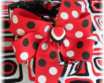 Dog Collar Red White & Black Dots Stripe Squares Adjustable Dog Collar D Ring Choose Size Square Stripes Pets Collars Accessory Pet Pets