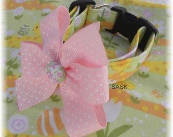 Dog Collar LIMITED Chicks and Eggs and Flowers Oh My w Ribbon Bow Size Choose Size Adjustable Dog Collar with D Ring