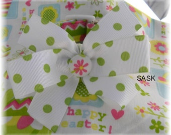 Dog Collar Easter Egg Hunt Happy Easter Baskets Flowers Flora  w Dot Ribbon Bow Choose Size Adjustable Dog Collar with D Ring