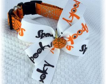 Dog Collar Halloween Spooky Glitter Orange Black Grey Tan Spider Webs Adjustable Collar w RIbbon Bow D Ring.CHOOSE SIZE Pet Pets Accessories