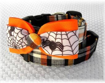 Dog Collar Halloween Fall Plaid Black Orange White Yellow Dog Adjustable Collar Ribbon Bow Tie D Ring Accessory Accessories Pet Pets Winter