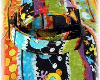Dog Collar READY to SHIP Halloween EEK Monsters Eye Balls Stripes Dots Orange Black Turquoise Fun Dog Adjustable Collar D Ring fun Colorful