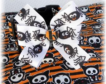 Dog Collar Skelanimals Spider Diego Oliver Owl Timmy Kit Fun Adjustable Dog Collar Ribbon Bow D Ring HALLOWEEN Fun CHOOSE SIZE Limit Fabric