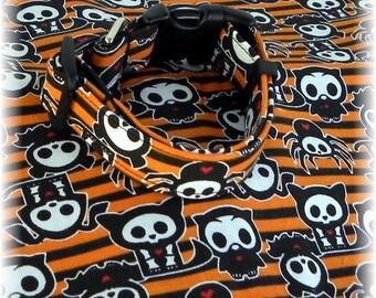 Dog Collar Skelanimals Spider Diego Oliver Owl Timmy Kit Halloween Accessory Fun Adjustable Dog Collar D Ring.Fun CHOOSE SIZE Limited Fabric