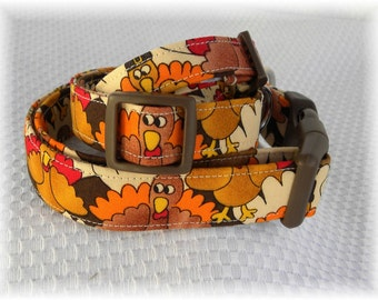 Dog Collar Turkey Crazy Fall Winter Fun Gobble Gobble Thanksgiving Fall Colors Adjustable Dog Collar D Ring.FUN Choose Size Accessory Pets