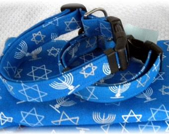 Dog Collar Hanukkah (Chanukah) Blue White Silver Jewish Hebrew Holiday Season Adjustable Dog Collar with D Ring Choose Size Accessory Pets