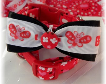 Dog Collar LIMITED Love Bug Every Day with Red white pink Hearts dots Cute Love Bug Bow Tie Dog Collar adjustable w D Ring Choose Size