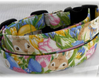 Dog Collar Bunny Love and Tulips  Adjustable Dog Collar with D Ring Choose Size Summer Spring Everyday Fun Flowers Floral