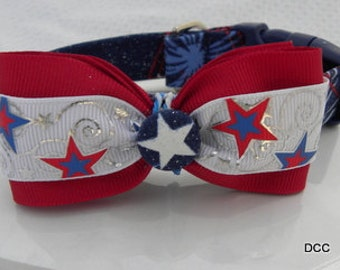 Dog Collar Patriotic Fireworks Labor Day Memorial Day 4th of July Veterans Bow Tie for the Boys Adjustable Choose size Accessories Accessory