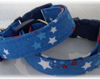 Dog Collar Patriotic Stars Red White Blue Stars Adjustable Collars D Ring Choose Size Accessories Pet Pets July 4 Veterans Memorial Day