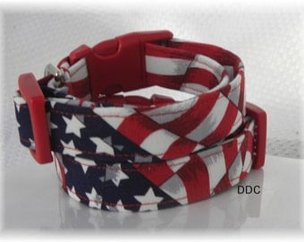 Dog Collar Classic Patriotic USA Flag Red White Blue Stars Labor Day Veterans 4th of July  Adjustable Dog Collar with D Ring Choose Size