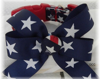 Dog Collar Patriotic USA Flag Red White Blue Stars w Bow Navy with white Stars Adjustable Dog Collar with D Ring Choose Size 4th of July